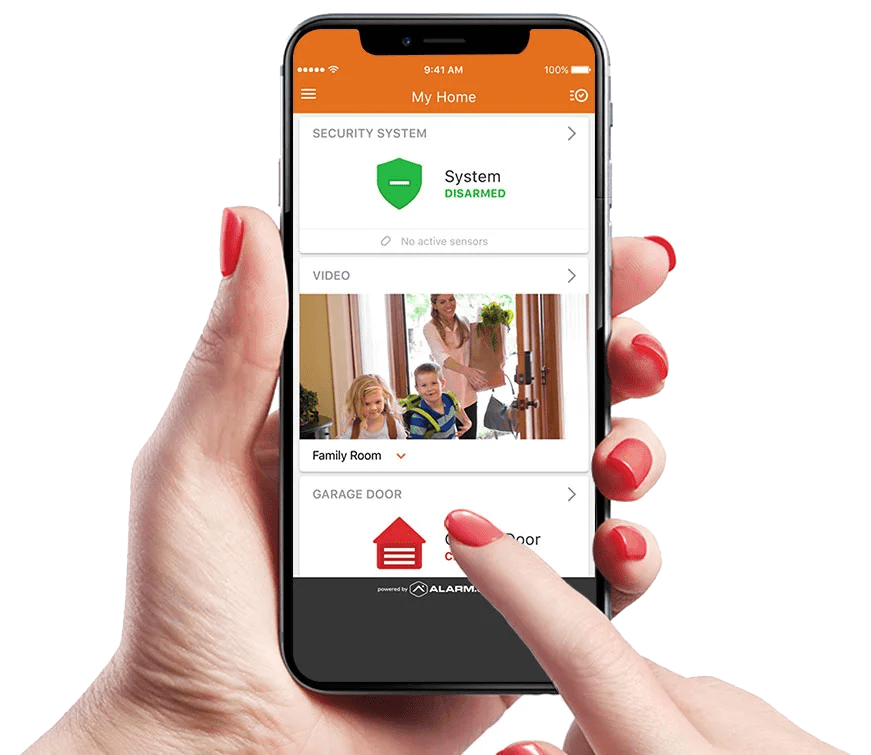 User using Alarm.com app on phone