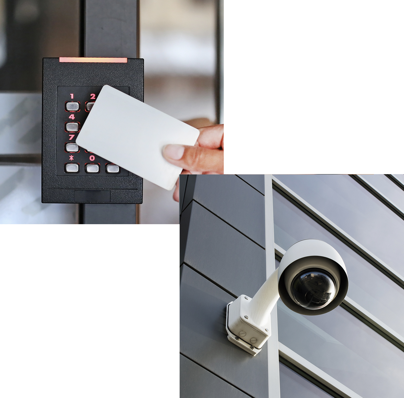 Keycard entry system and security camera outside building