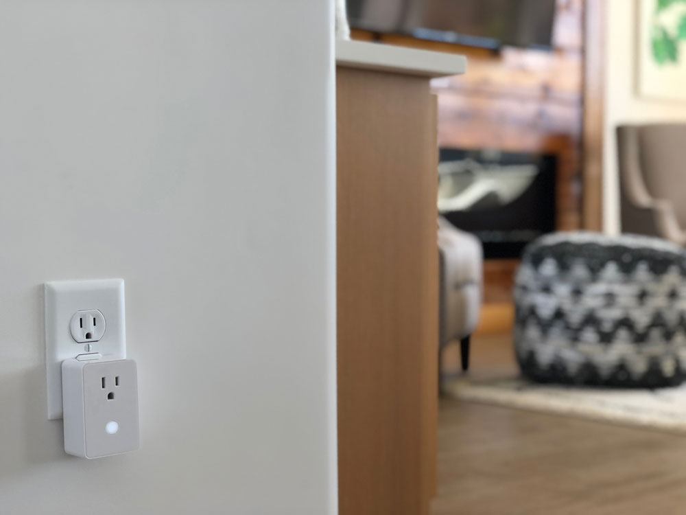 Qolsys IQ Outlet with smart technology in room