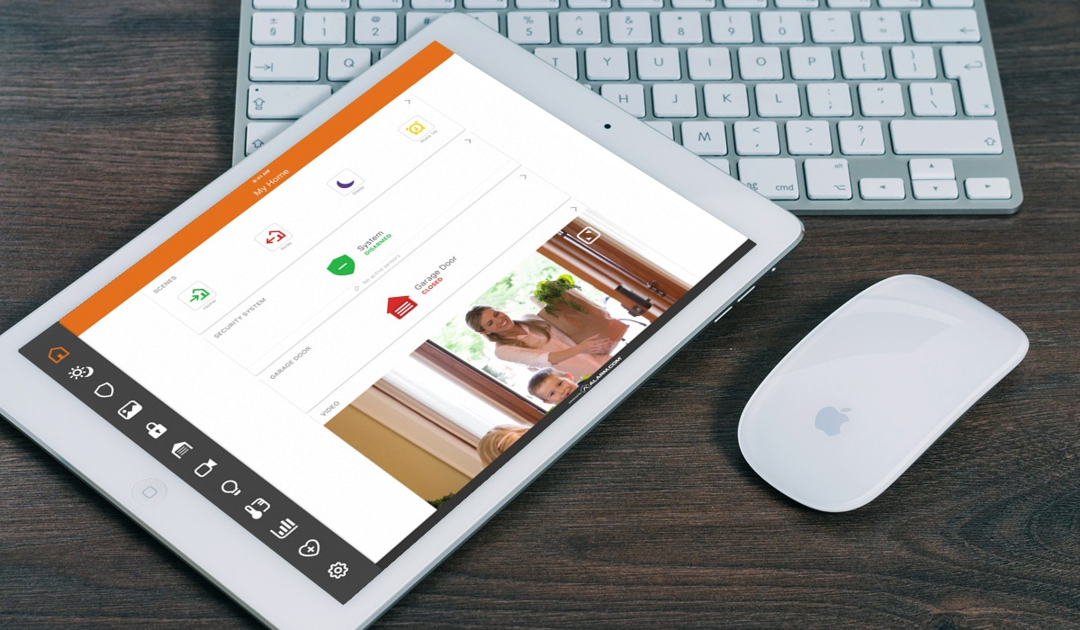 setting up alarm.com app on tablet