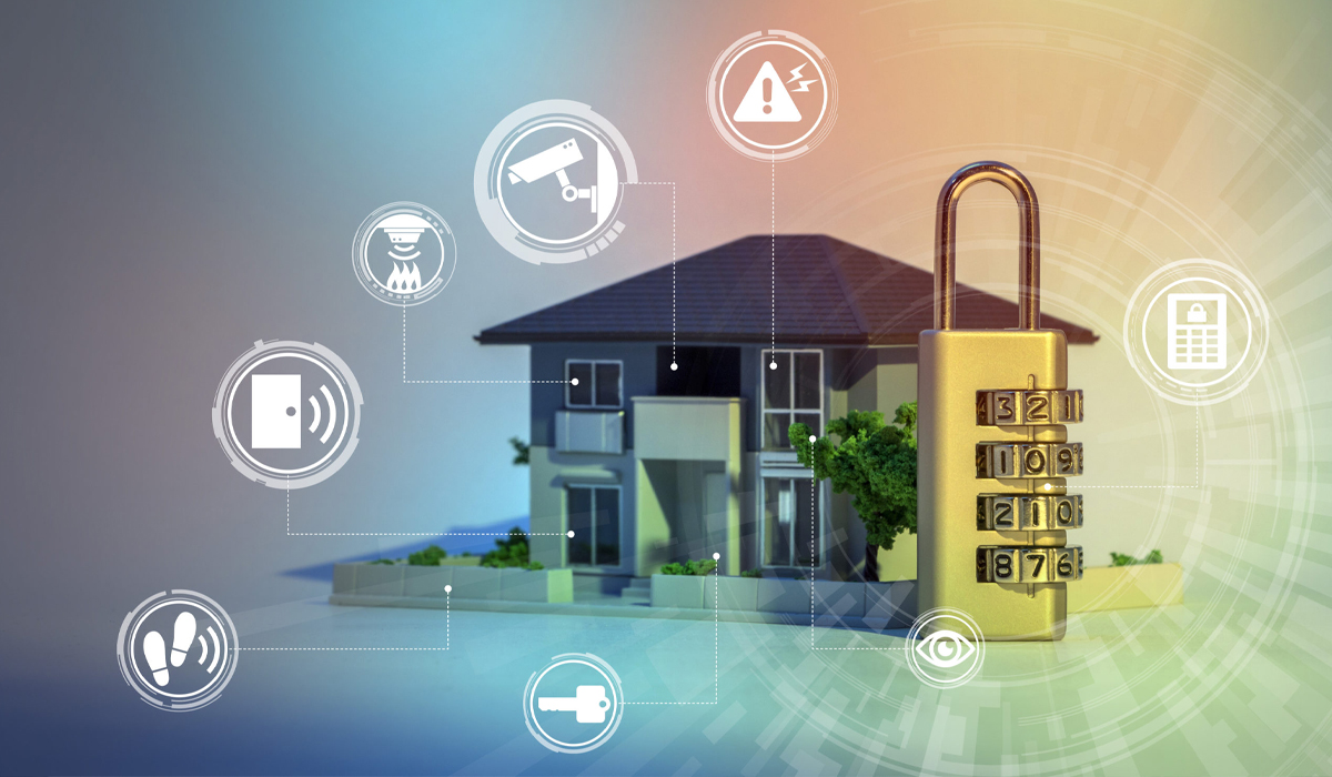 Home with big lock in front along with icons of security features and accessories