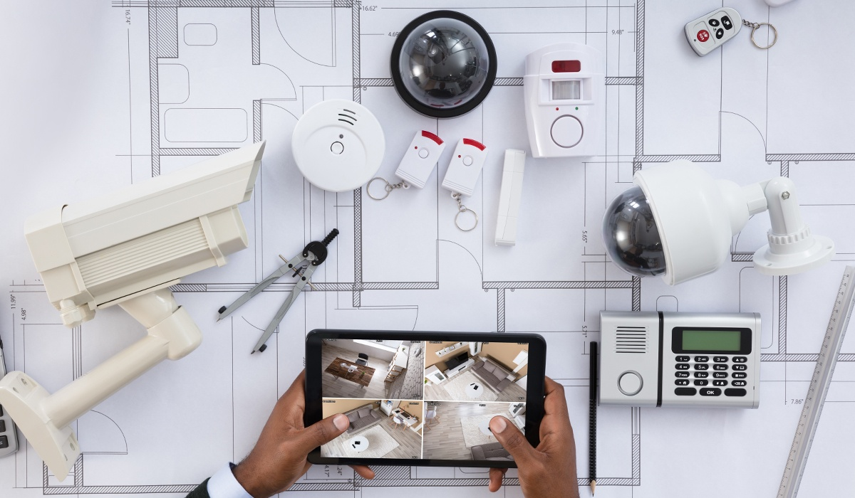 setting up an alarm system with security devices around