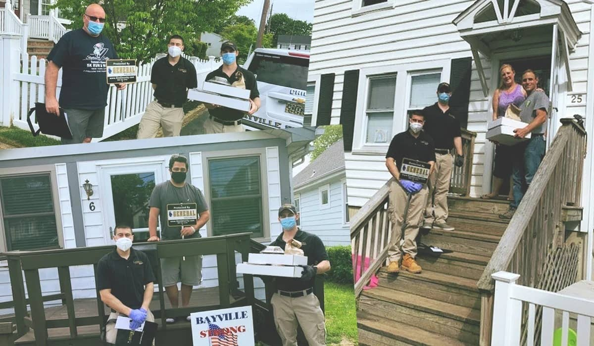 Images of general security employees delivering pizza and covid supplies to families