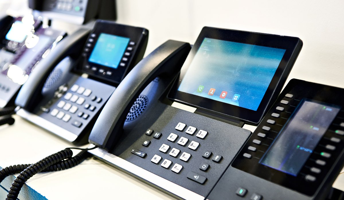 VoIP Phones lined up and connected