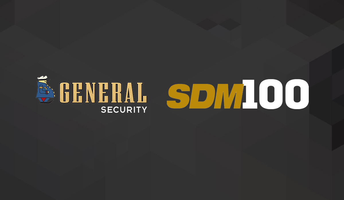 general security and sdm100 logo on black background