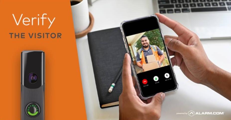 alarm-com doorbell and live video showing on alarm-com app