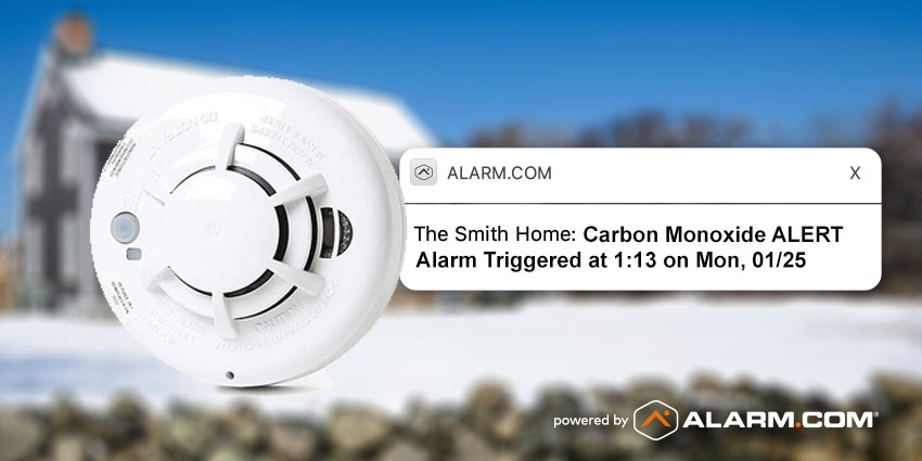 carbon monoxide alert from alarm.com notifying user of danger