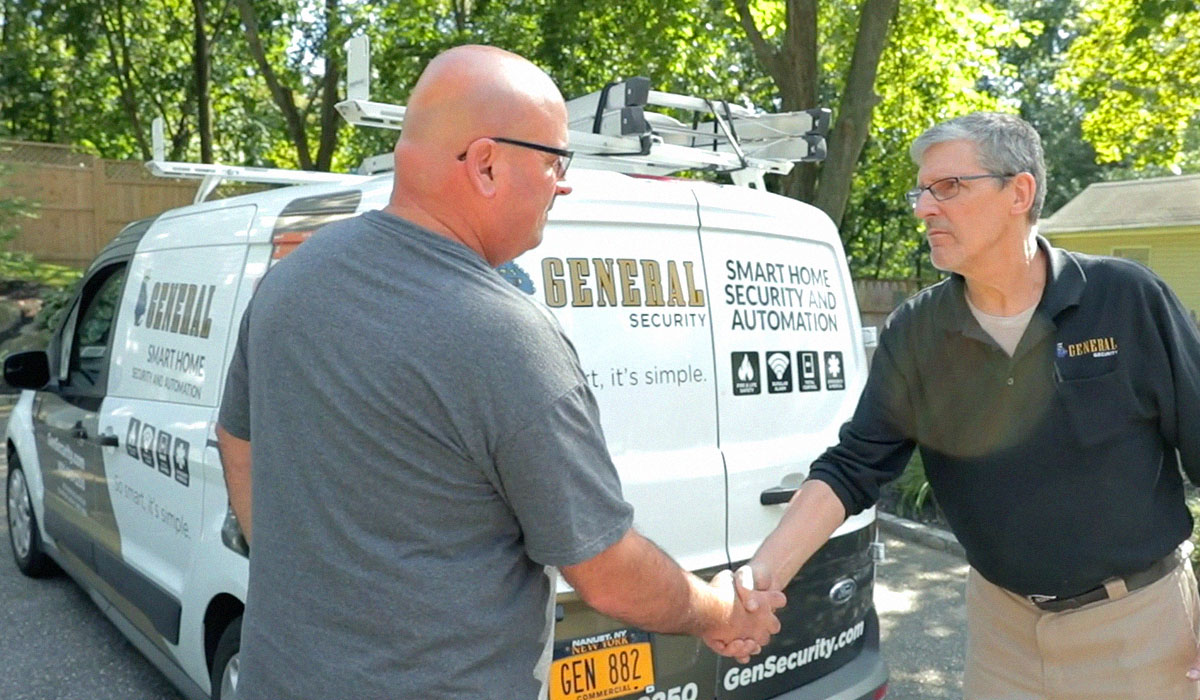 general security employee shaking hands with homeowner