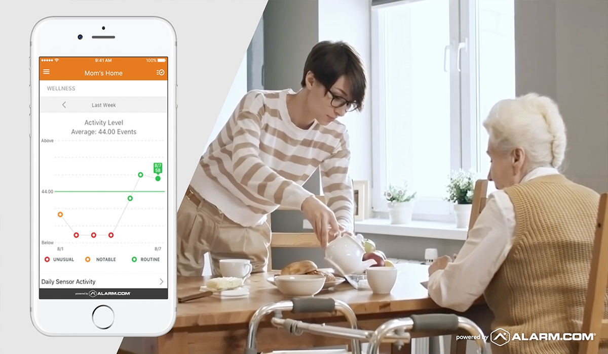 woman helping her mother pour tea and alarm.com app