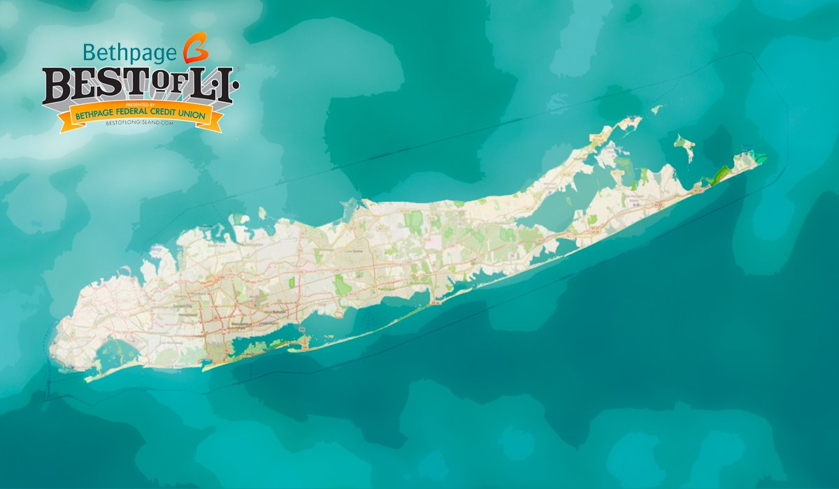 Turquoise background with map of long island and logo for Best of Long Island
