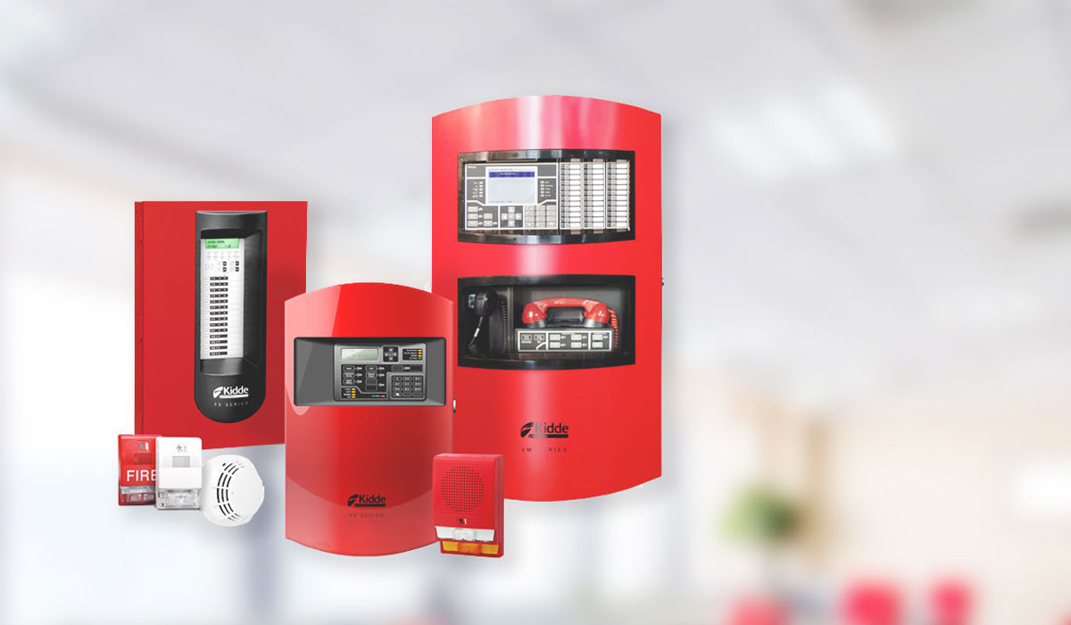 Multiple fire alarm products on blurred background
