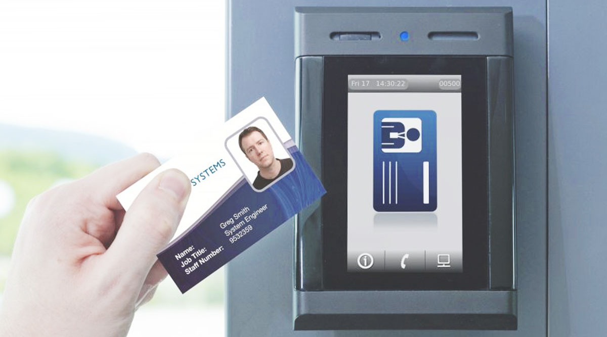 Commercial Access with keycard and scanner for commercial building