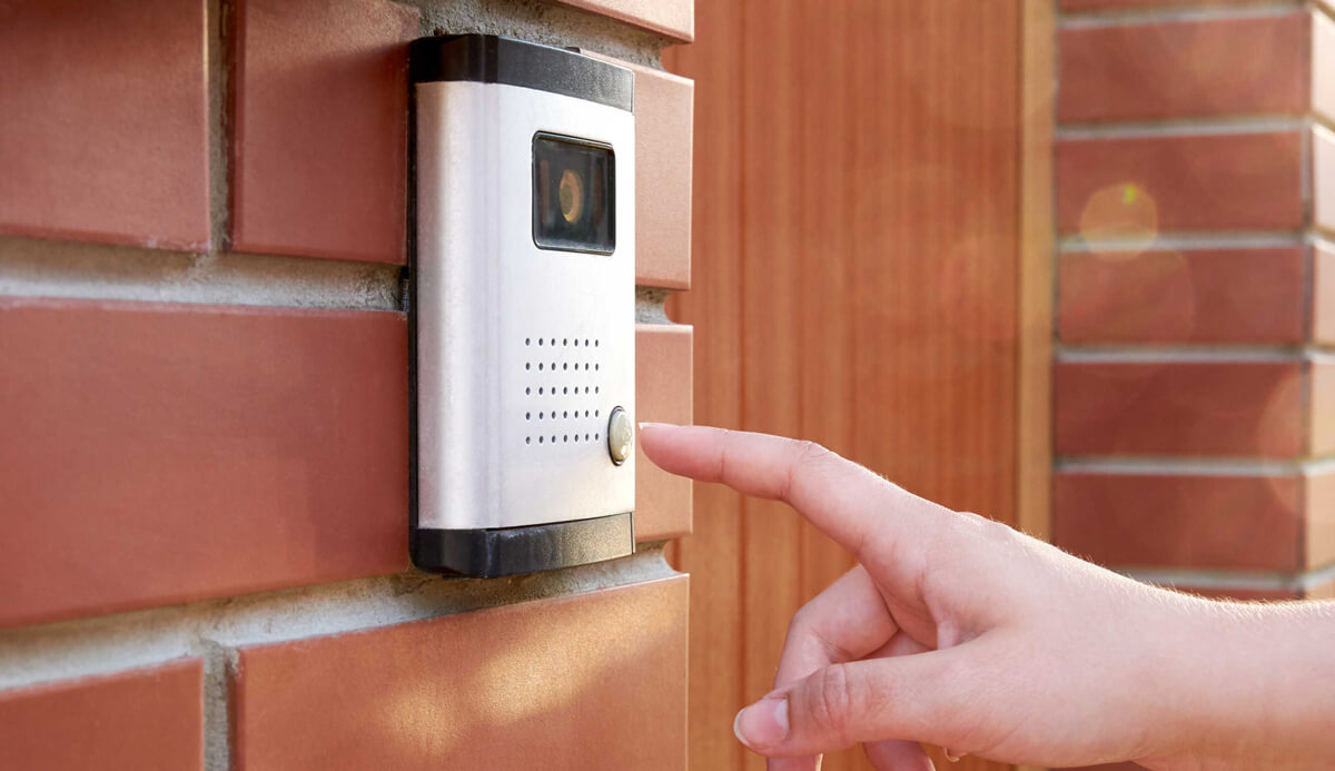 Intercom System with person going to press button