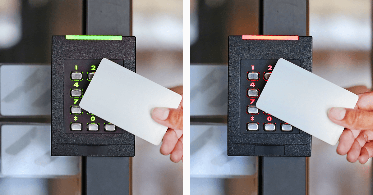 Keycard access with module - side by side - one is green for success and one is red for denial